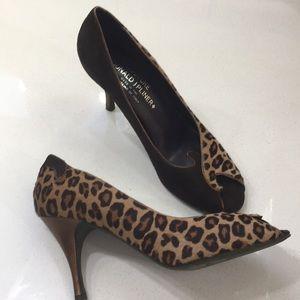 Donald J Pliner peep toe leopard heels